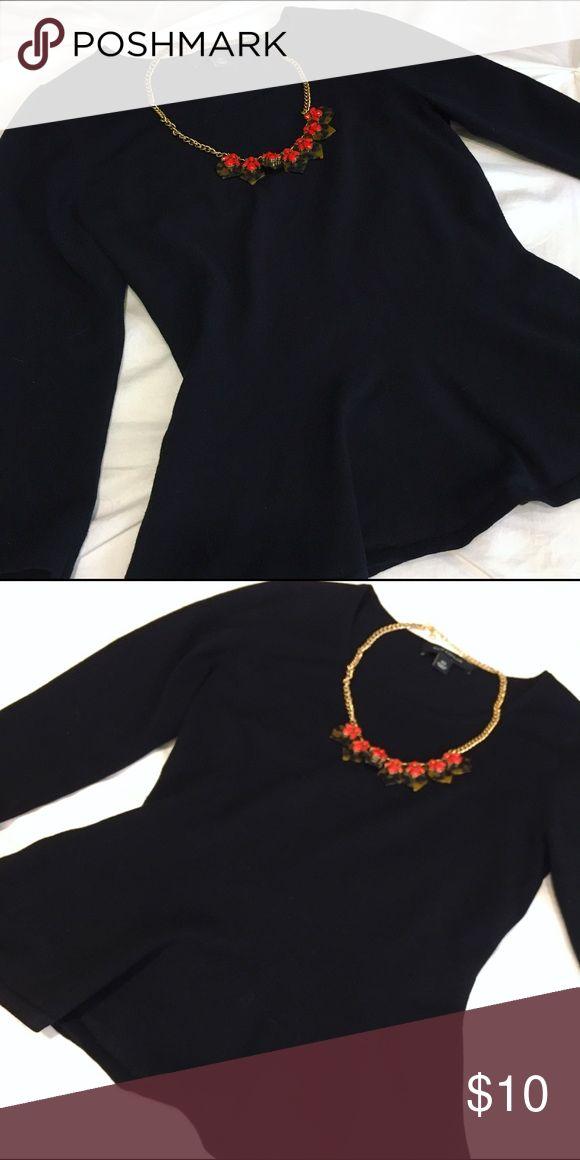 Ann Taylor peplum sweater top Ann Taylor Loft black peplum sweater (necklace not included). Ann Taylor Tops