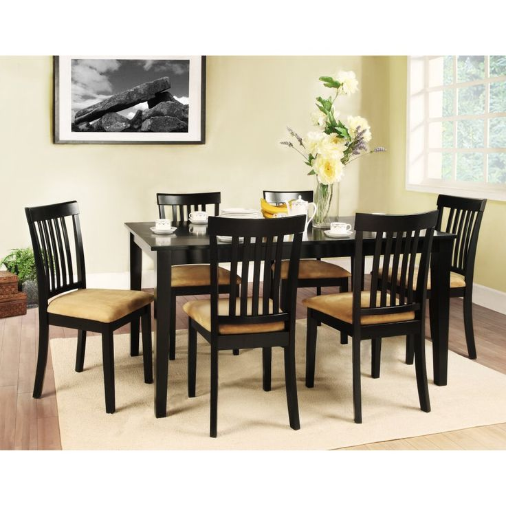 Homelegance Tibalt 7 Piece Rectangle Black Dining Table Set - 60 in. with 6 Mission Back Chairs - Dining Table Sets at Hayneedle