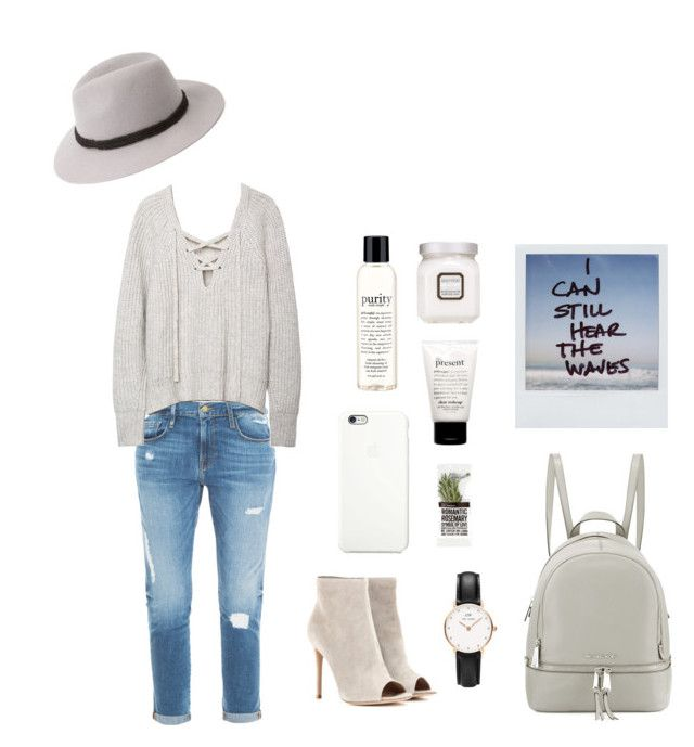 """""""I can still hear the waves."""" by oliviiiias on Polyvore featuring Frame Denim, Gianvito Rossi, philosophy, Laura Mercier, Apple, Forever 21, MICHAEL Michael Kors and Daniel Wellington"""