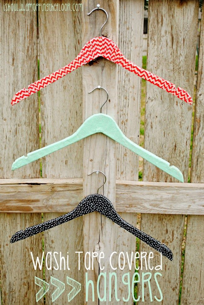 Washi Tape Covered Hangers Tutorial: Easy graduation or wedding gift! The perfect way to pretty up a closet.