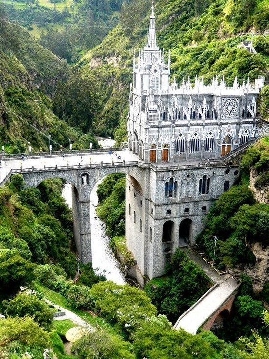 The Gothic Revival style Las Lajas Sanctuary in Colombia. The inspiration for the church's creation was a miraculous event in 1754: a apparition of the Virgin Mary that instigated popular pilgrimage to the site and occasional reports of cases of miraculous healing.