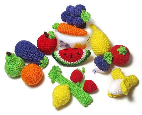 6 Pieces of Crochet Play Food  Crochet Fruits  Crochet by Starfall
