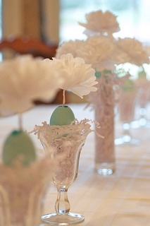 Easter Decor Ideas using eggs and tissue paper.