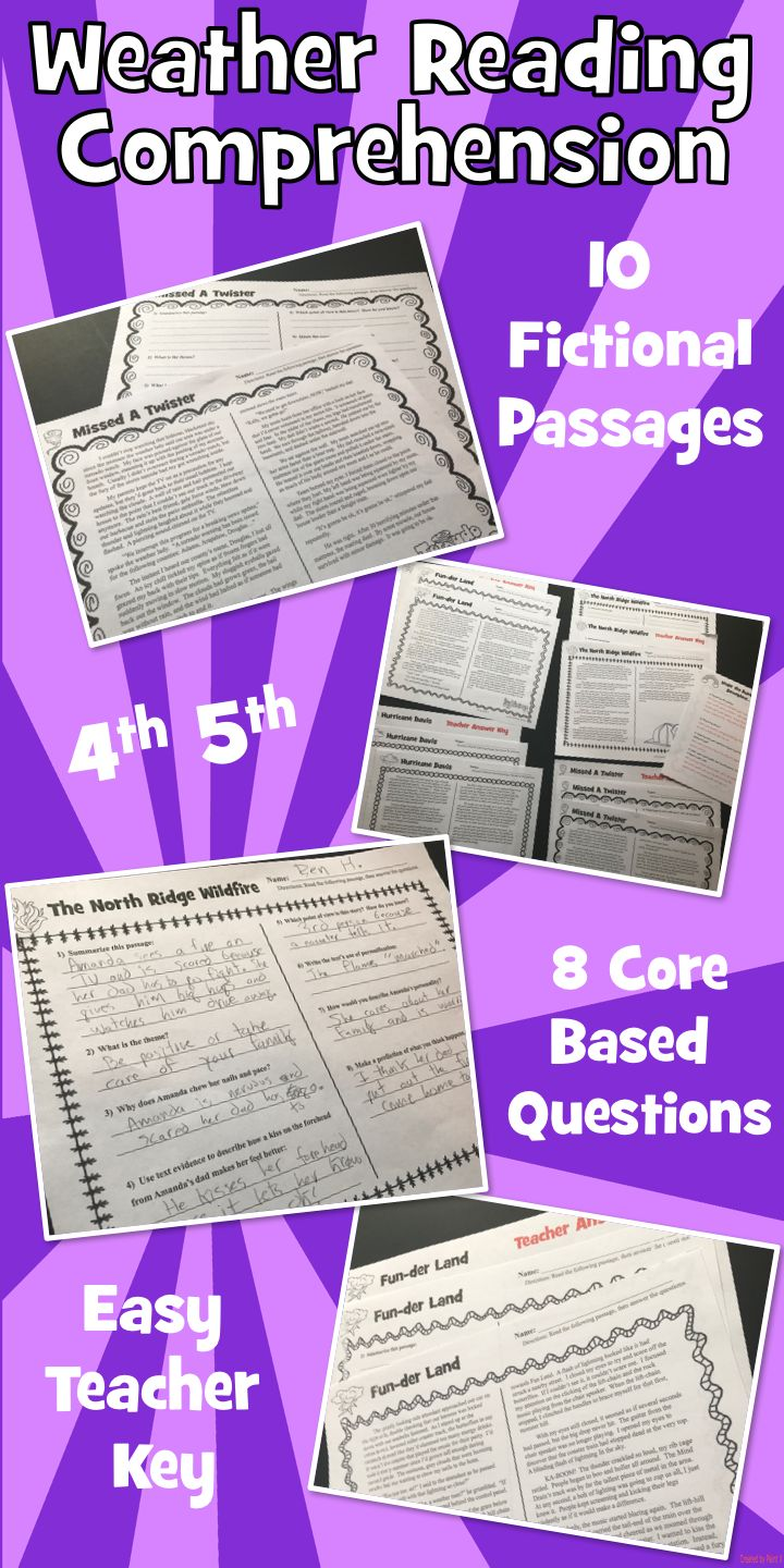 10 Weather Reading Comprehension Passages: Fun Reading: Two Levels