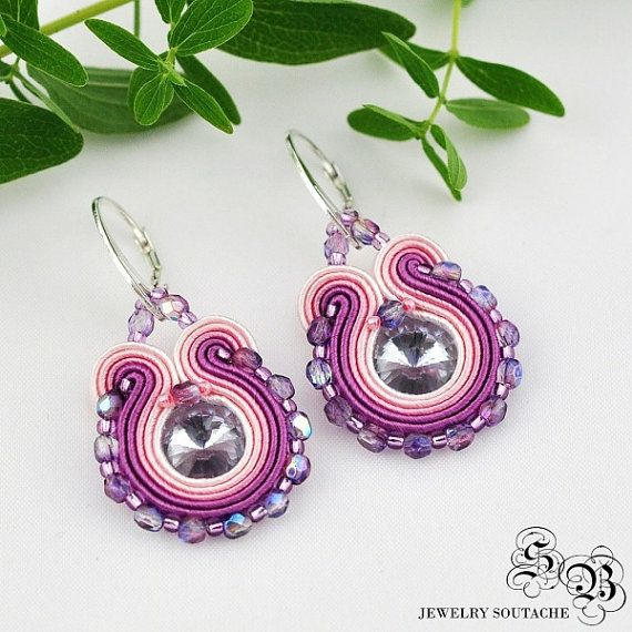 Mini Earrings Soutache, violet/pink, Soutache earrings, small earrings
