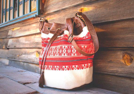 Boho Leather Drawstring Bucket Bag / Drawstring Leather by morelle