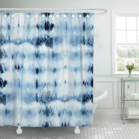 Emvency Fabric Shower Curtain With Hooks Tie Dye Of Indigo Color