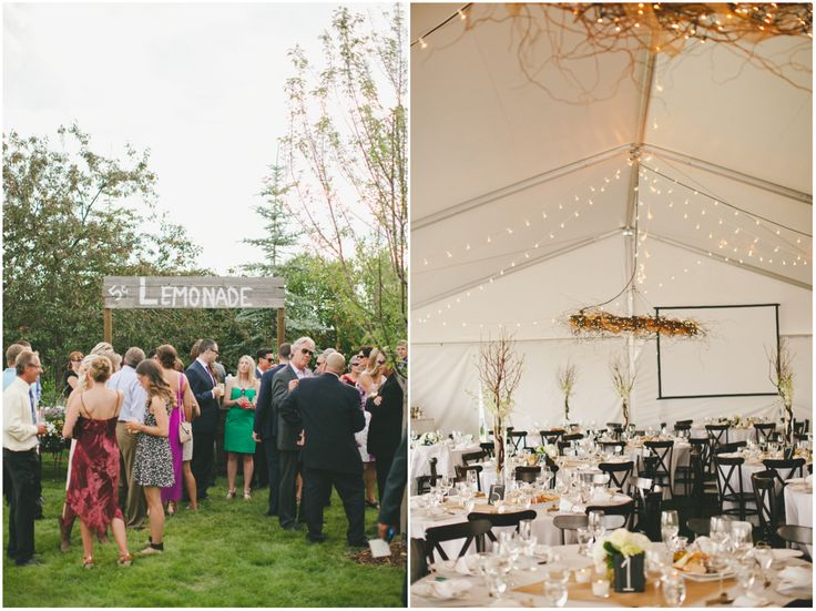 Rustic twig chandeliers and a custom made lemonade stand topped off this stunning tent wedding.