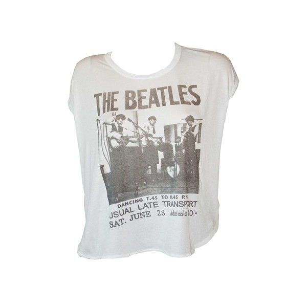 Women's Beatles Poster Crop Tee T-Shirt by Junk Food ($28) ❤ liked on Polyvore featuring tops, t-shirts, vintage crop top, loose crop top, vintage graphic t shirts, vintage graphic tees and off shoulder crop top