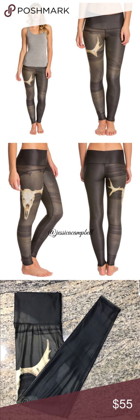 Teeki Deer Medicine Yoga Leggings Make a statement in the studio with these yoga leggings. Comfortable high waist and and bold print make these fashionable and functional. Full length, graphic skull print, all over sheen, thick elastic free waistband. Breathable, four way stretch material. Tight fit. Excellent condition. All reasonable offers are welcome! Please make all offers through the offer button🤗 teeki Pants