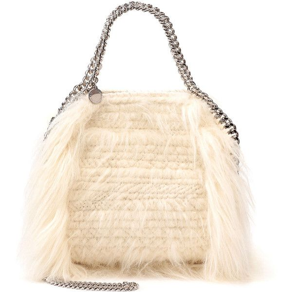 Stella McCartney Falabella Mini Faux-Fur Tote Bag ($1,490) ❤ liked on Polyvore featuring bags, handbags, tote bags, ivory, woven tote, woven handbag, pink tote bag, chain strap purse and top handle handbags