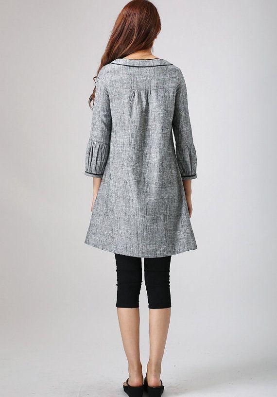 Linen Tunic dress Grey dress Mini Dress Tunic top by xiaolizi
