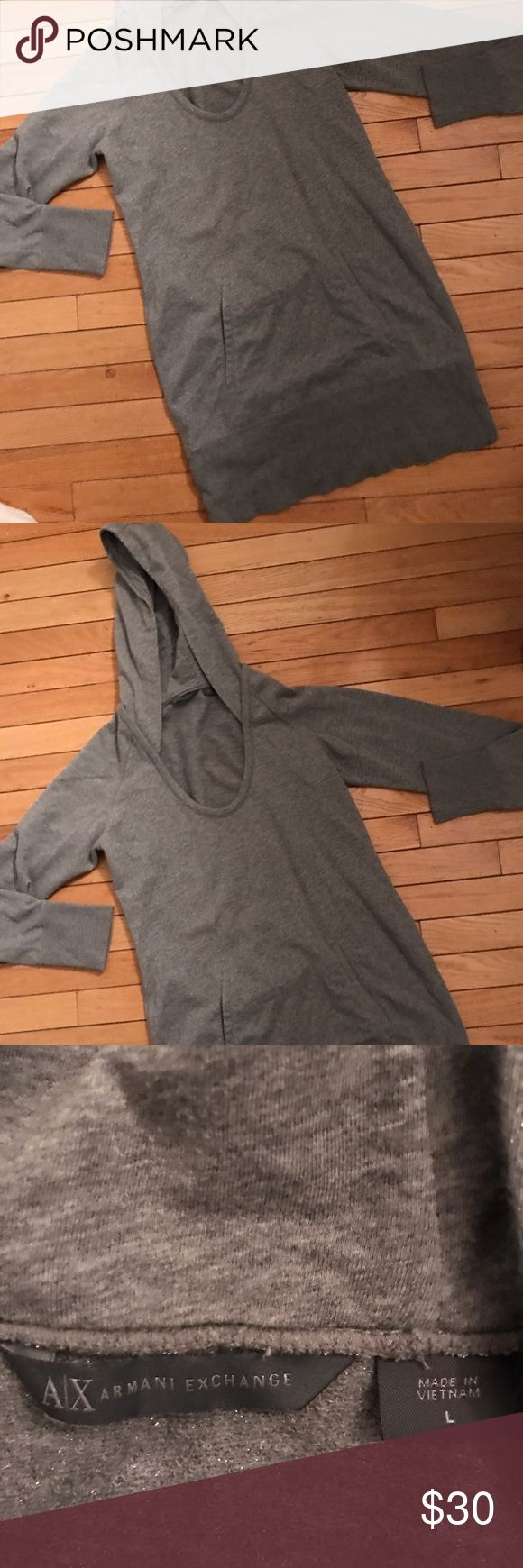Armani Exchange metallic sweatshirt tunic hoodie In excellent condition perfect with leggings size says large fits more like a medium. A/X Armani Exchange Tops Sweatshirts & Hoodies
