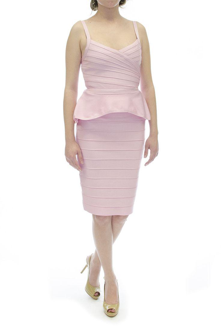 Pink Two-Piece Bandage Dress