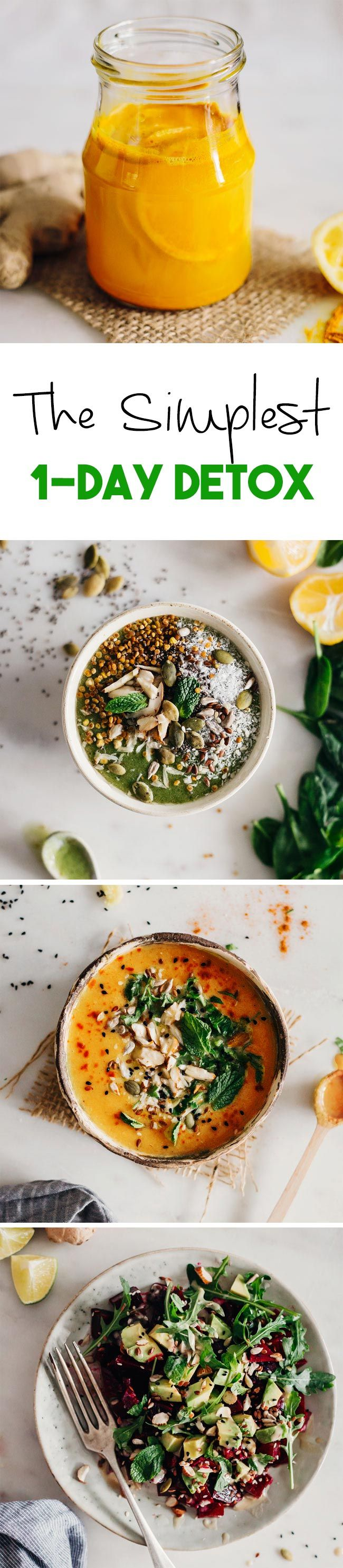 1-Day Detox with simple ingredients and easy recipes #detox | TheAwesomeGreen.com