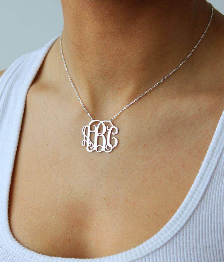 Monogram necklace - 925 Sterling Silver Monogram Necklace - 2 inch - %100 Handmade. $44.99, via Etsy.