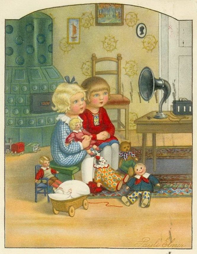 Dolls and the gramaphone by Pauli Ebner