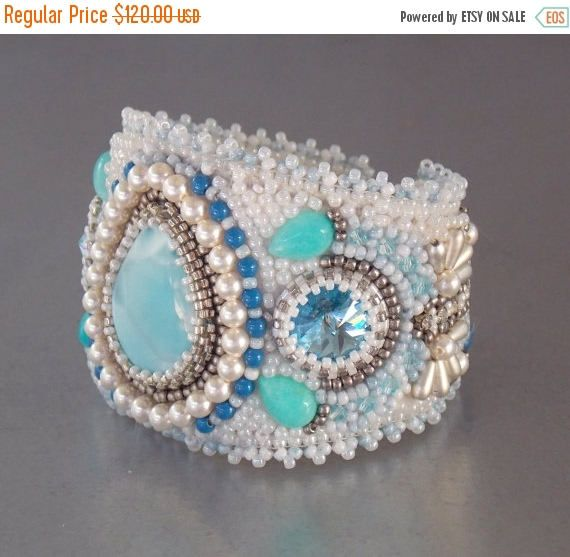 Check out Summer sale Free Shipping , Bead Embroidery, Bracelet, Statement cuff, Seed bead bracelet, Silver, Blue, White, Larimar gemstone, on vicus