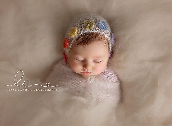 Rainbow Baby Bonnet NB by TaiterTotProps on Etsy