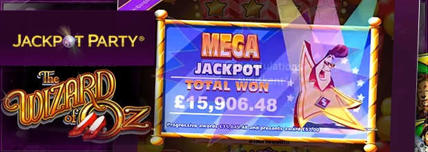 A lucky Jackpot Party Casino player won £15,906 when he triggered the Mega Jackpot playing the Wizard of Oz video slot game: http://www.casinomanual.co.uk/15906-mega-jackpot-win-wizard-oz-slot-jackpot-party-casino/