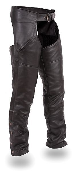 Mens Cowhide Leather Motorcycle Chaps