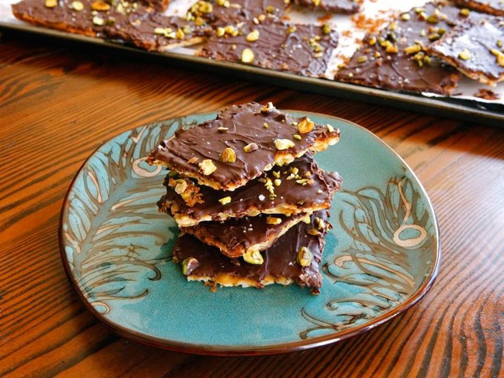 """Chocolate Toffee Matzo Crunch with Pistachios & Sea Salt - Delicious Passover dessert inspired by Marcy Goldman's """"A Treasury of Holiday Baking"""""""