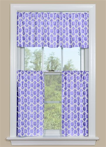 Good Retro Kitchen Curtain Valance And Tier Pair In Purple And White