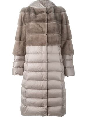 mink fur panel padded coat