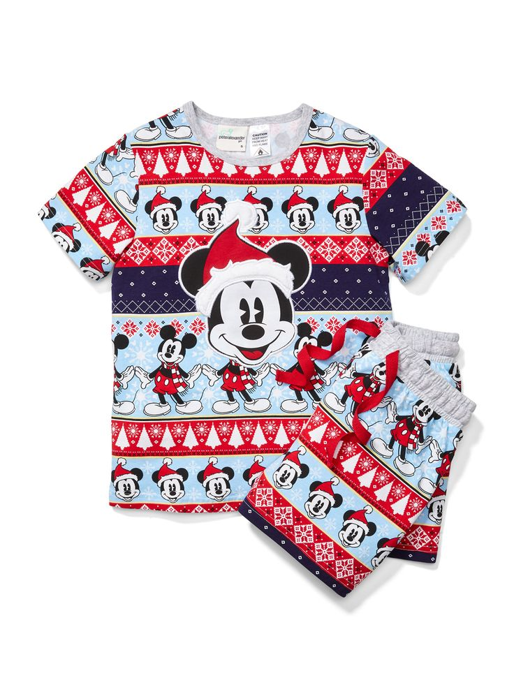 Size 4 Jnr Unisex Christmas Mickey Mouse Pj Set