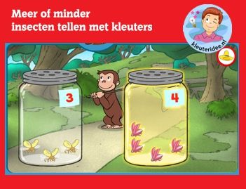 Meer of minder insecten, tellen met kleuters op digibord of computer op kleuteridee.nl  -  Kindergarten educative insects counting game for IBW or computer
