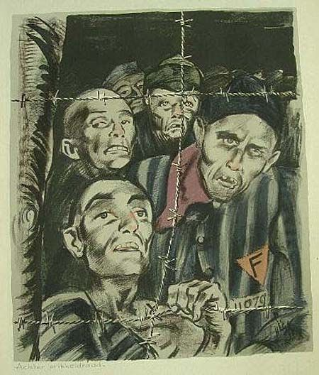 dachau concentration camp art | Henri Pieck (1895-1972). Behind Barbed Wire, 1945
