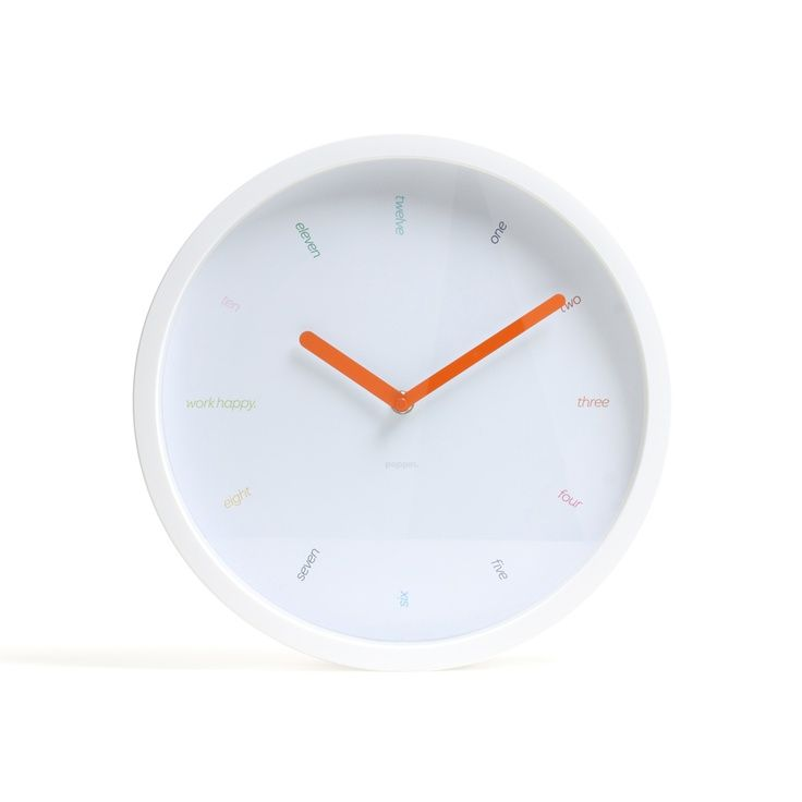 White Wall Clock With Orange Hands