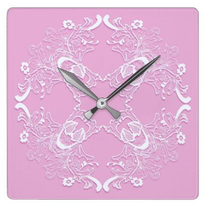 Floral retro pink lace design. square wall clock - lace wedding ideas marriage diy cyo customize special