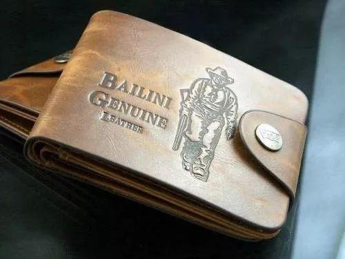 carteira masculina de couro bailine genuine porta cartão