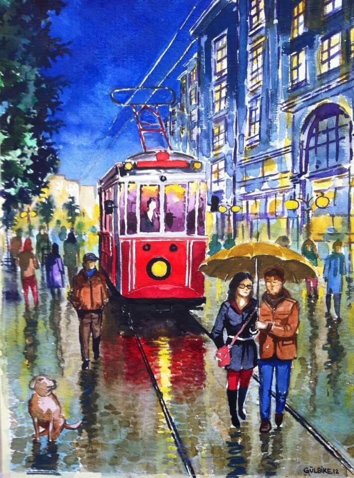watercolor of istanbul rainy night with the tramway