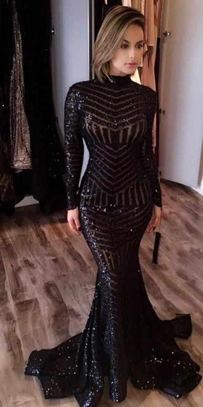 High Collar Black Sequin Mermaid Prom Dress with long sleeves (Ravens prom dress)