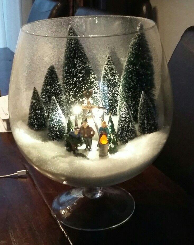 Kerst tafereel in glas