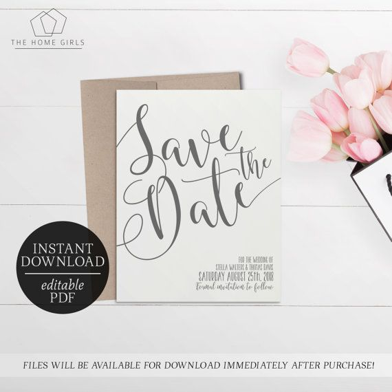 Printable Save The Date Calligraphy Invitation  Grey