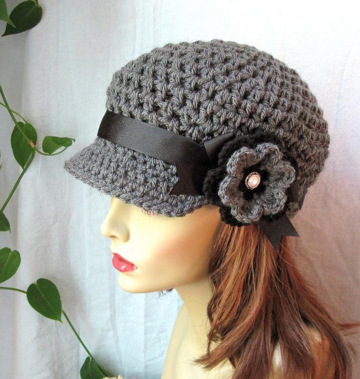 Charcoal Gray Teens Womens Hat, Newsboy, Black, Pearl Button, Flower, Ribbon