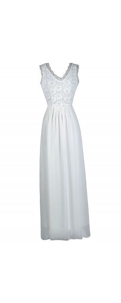 Lily Boutique Dimiana Lace and Chiffon Maxi Dress in Ivory, $54 Off White Lace Maxi Dress,  White Summer Maxi Dress, Cute Maxi Dress www.lilyboutique.com