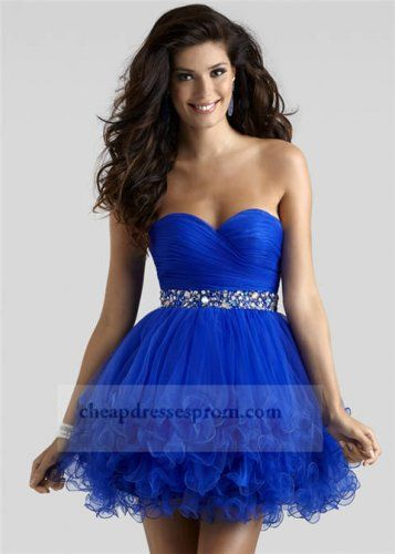 Beaded Royal Blue Short Prom Dresses Sale