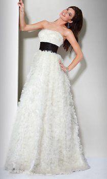 A lungo senza spalline piuma abiti da sposa colorati