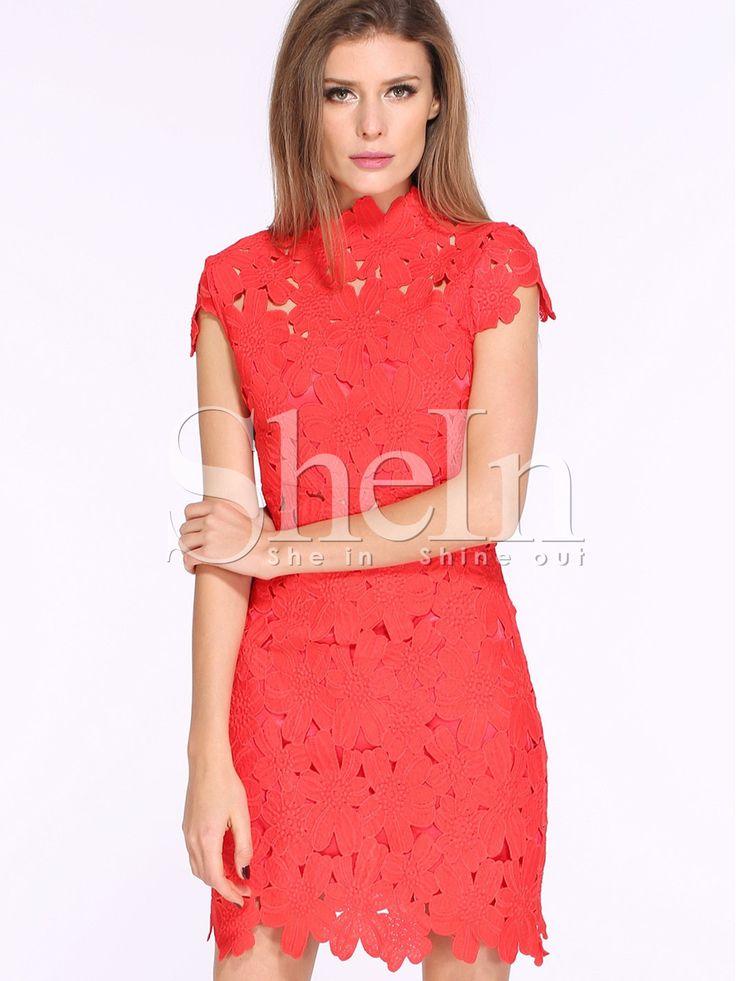 Red Cap Sleeve Crochet Lace Zipper Dress 21.99