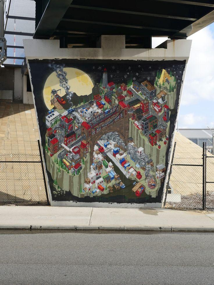 @sherriewilsonprojects  #jesseeleejohns #mural #fremantle #freo #streetart  http://www.sherriewilsonprojects.com/projects/underline_|_rail_bridge_project/