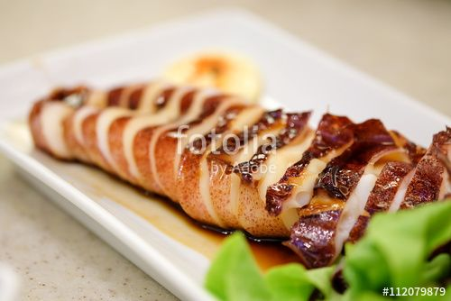 Grilled squid sauce with selective focus, Japanese food