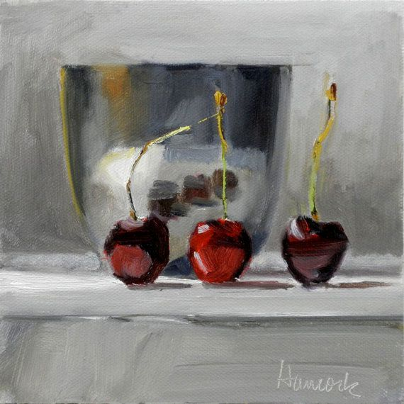 Silver Bowl and Three Cherries by Gretchen Hancock