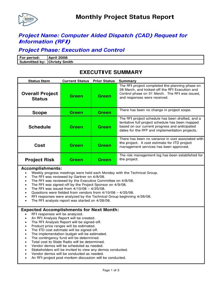 Status Report Examples Doc Pdf Examples intended for