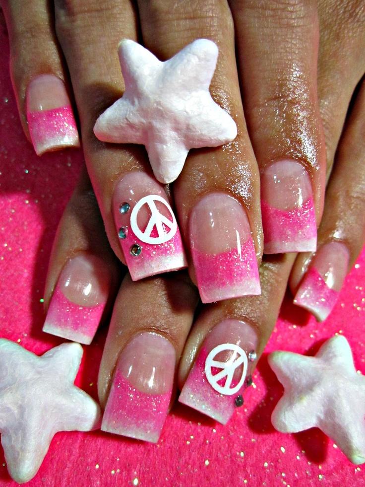 Peace sign acrylic nails