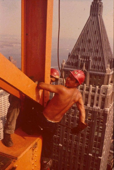 From right: Joe Regis (Mohawk, Kahnawake) and an unidentified ironworker erecting the Chase Manhattan Bank Building in New York, ca. 1960.