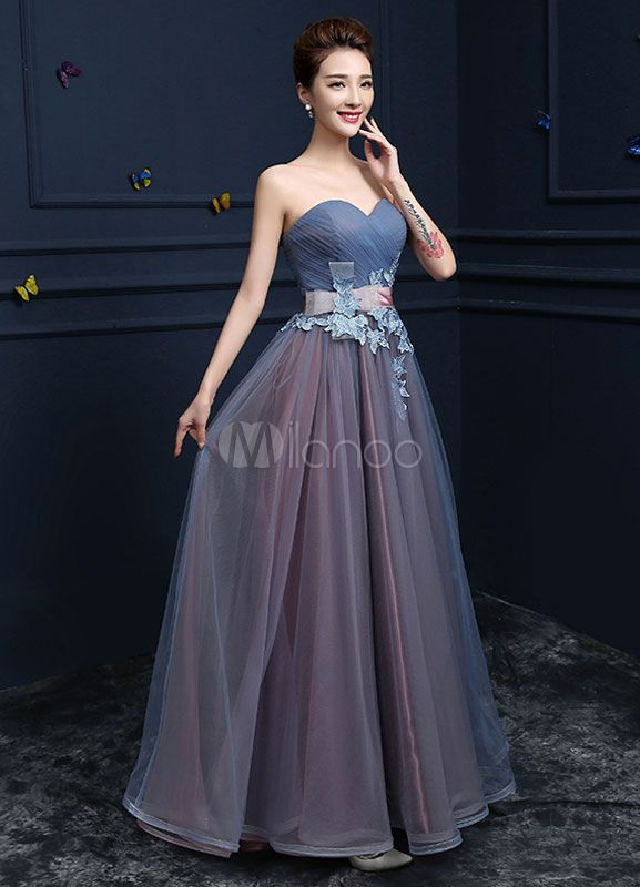 b3cb4d3889a Sweetheart Evening Dresses Strapless Tulle Prom Dresses A Line Floor Length  Lace Up Applique Party Dresses With Sash - Milanoo.com